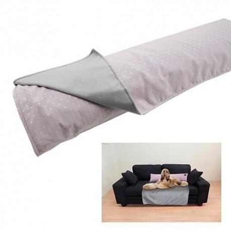 Yagu manta cubre sofá con cojín topos rosa