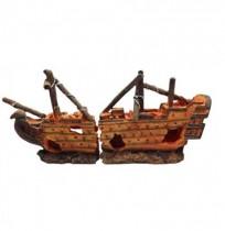 Duvo barca naufragada decoración acuario n22