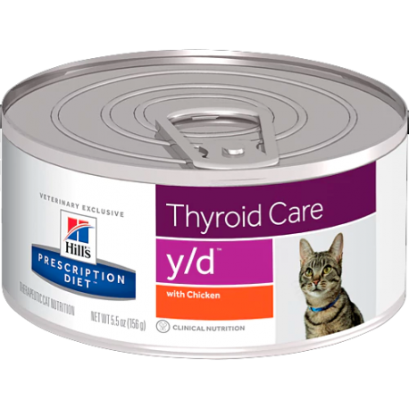 Hill's prescription diet feline y/d thyroid care con pollo (lata)