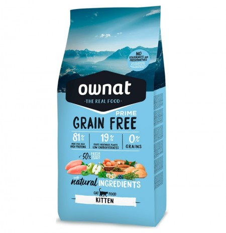 Ownat cat prime kitten grain free para gatitos