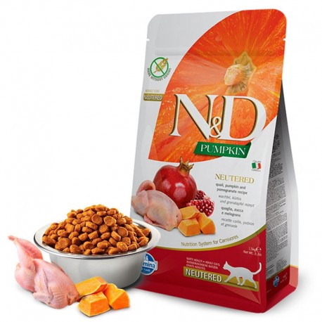 Farmina n&d feline pumpkin neutered codorniz para gatos esterilizados