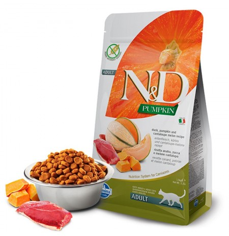 Farmina n&d feline pumpkin pato para gatos adultos