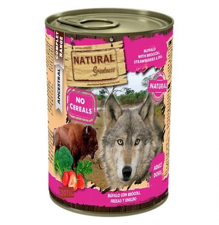 Natural greatness búfalo con brócoli latas para perros