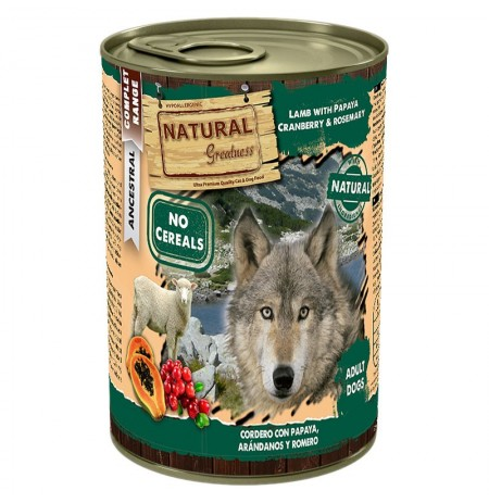 Natural greatness cordero con papaya latas para perros