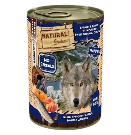 Natural greatness salmón y pavo latas para perros